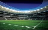 Fotobehang Papier Voetbalveld | Blauw, Groen | 254x184cm