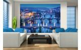 Fotobehang Vlies | Brug, Steden | Blauw | 254x184cm