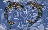 Fotobehang Vlies | Dolfijnen | Blauw | 254x184cm