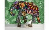 Fotobehang Vlies | Olifant, Abstract | Groen | 254x184cm
