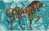 Fotobehang Vlies | Paard | Turquoise | 254x184cm
